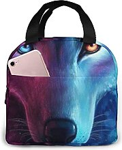 Pink and Blue Cool Wolf Moon Art Lunch Bag