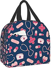 Pink and Blue Nurse Pattern Portable Insulated