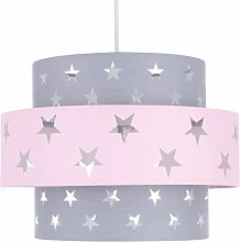 Pink and Grey Star Two Tier Light Shade