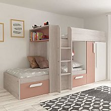 Pink and Oak Kids Storage Bed, Happy Beds Barca