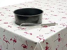 Pink and White Flamingos PVC Vinyl Oilcloth Wipe