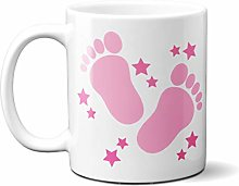Pink Baby FEET with Pink Stars - White Ceramic