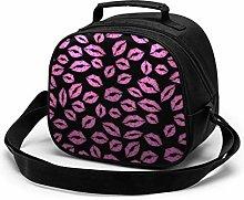 Pink Black Lip Print Insulated Lunch Bag Mini
