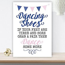 Pink & Blue Bunting Wedding Dancing Shoes Table
