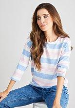Pink & Blue Stripe Knitlook Top - 16