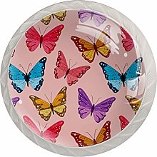 Pink Butterfly 4 Pieces Crystal Glass Wardrobe