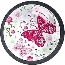 Pink Butterfly Crystal Door Knobs Glass Furniture
