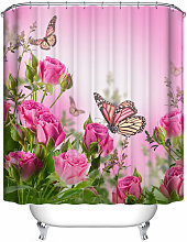 Pink Butterfly Waterproof Bathroom Shower Curtain