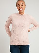 Pink Cable Knit Front Jumper - 8