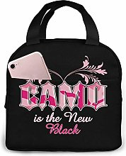 Pink Camo Quotes Portable Lunch Bag Insulated