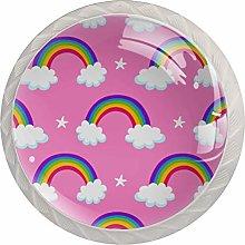 Pink Cartoon Rainbow 4 Pieces Crystal Glass