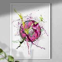 Pink Donut - Wall Art Print - A3 White Framed