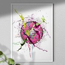 Pink Donut - Wall Art Print - A4 White Framed
