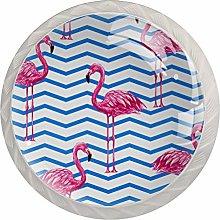 Pink Flamingo 4 Pieces Crystal Glass Wardrobe
