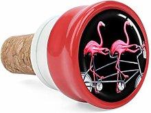 Pink Flamingo Bicycle Wine Cork Wine Bottle