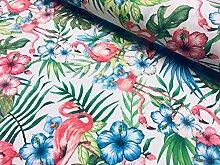 Pink Flamingo Bird Floral Fabric & Tropical Green