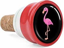 Pink Flamingo Design Pattern Wine Cork Wine Bottle