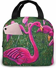 Pink Flamingo Painting Lunch Bag Cooler Tote Box