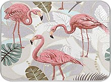 Pink Flamingo Palm Tree Tropical Dish Drying Mat
