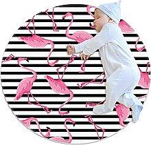 Pink flamingo, Round Area Rug Pattern Round