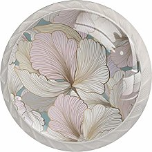 Pink Floral 4 Packs Cabinet Door Knobs with