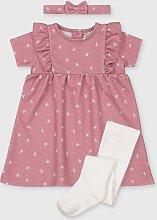 Pink Floral Dress, Headband & Tights Set - 9-12