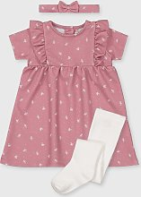 Pink Floral Dress, Headband & Tights Set - Up to 1