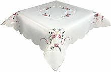 Pink Floral Embroidered Tablecloth in a 85 x 85 cm