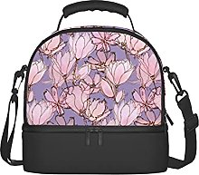 Pink Floral Pastel Purple Insulated Lunch Bag