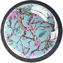 Pink Flower Branch Crystal Drawer Handles