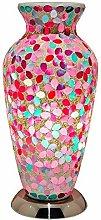 Pink Flower Mosaic Glass Vintage Vase Table Lamp