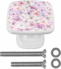 Pink Flowers 4PCS Drawer Knobs Square Crystal