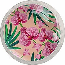 Pink Flowers and Green Leaves 4 Pieces Crystal