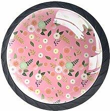 Pink Flowers Crystal Drawer Handles Furniture