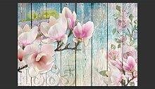 Pink Flowers on Wood 245cm x 350cm Wallpaper Fleur