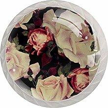 Pink Flowers White Crystal Drawer Handles
