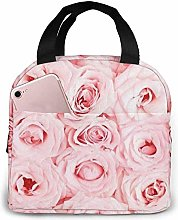 Pink Fresh Roses Pug Dog Lunch Bag Insulated Lunch