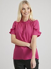 Pink Frill Neck Blouse - 14