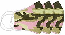 Pink Green Camouflage Fabric Cloth Reusable