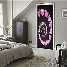 Pink Heart Spiral Ladder Self-Adhesive Office Door