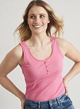 Pink Henley Vest Top - 8