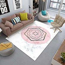 Pink hexagon Area rug modern style rug Machine