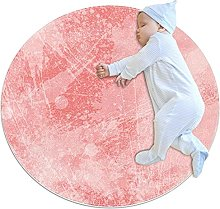 Pink, Kids Round Rug Polyester Throw Area Rug Soft