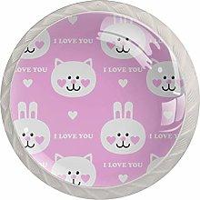 Pink Kitten Bunny 4 Pieces Crystal Glass Wardrobe