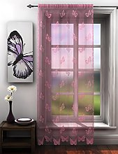 Pink Lace Butterfly Voile Net Curtain Panel