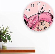 Pink Lady Printed PVC Wall Clock Modern Design