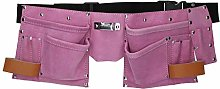 Pink Leather Tool Belt Builders Storage Pouch Tool