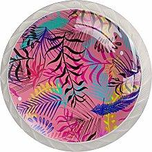 Pink Leaves 4PCS Drawer Knobs,Cabinet Knobs,Drawer