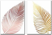 Pink Leaves Poster Nordic Canvas Posters Abstract
