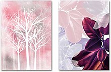 Pink Leaves Woodland Watercolor Canvas Print